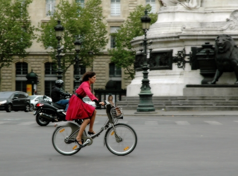 Parisian woman on her bike
