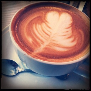 Sandy Hibbards Latte at the Iris Cafe in Brooklyn Heights New York