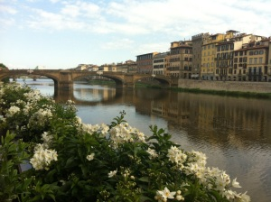 The Lungarno view in Florence Italy