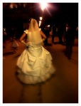 Bride getting married outside of Notre Dame Cathedral in Paris