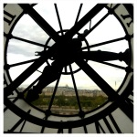 The clock at the Musee d'Orsay with view of Sacre Coeur