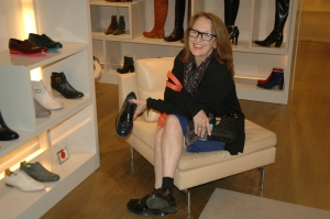 Judith buying shoes at Le Bon Marche' she is beyond help!