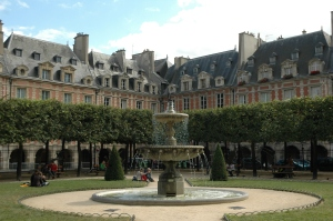 The Place des Vosges located in the Marais area of Paris