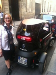 Judy and the smallest car I have ever seen