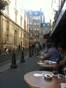 a typical scene in the Latin Quarter in Paris at Saint Germain des Pres