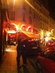 Paris lovers and Night life in the Latin Quarter Rue de Buci in Paris
