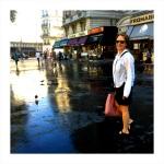 Judith on her walking adventure along Blvd St. Germain
