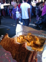 My lunch of croquet monsier and FRENCH fries at the Porte de Vanves flea market Paris