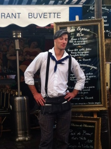 French waiter in the artists district at Montmartre