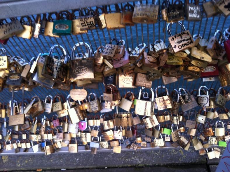 Lovers everlasting love padlocks on the Pont de l'Archevêché bridge in Paris