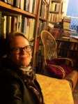 Taking it in the upstairs room at Shakespeare and Company Book Store in Paris