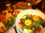 Our late night dinner a warm goat cheese salad with salmon fume
