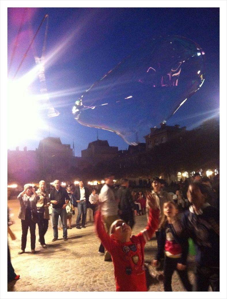 The bubble boy at Notre Dame Cathedral in Paris