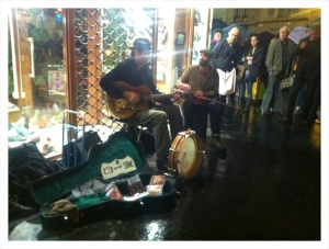 Blues Guys playing in front of Cafe de Buci in Paris Latin Quarter