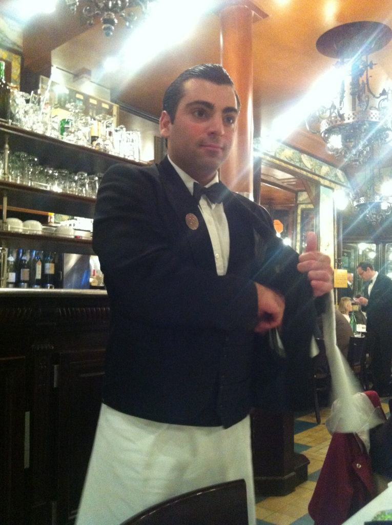 another beautiful Parisian man, at Brasserie Lipp in Paris